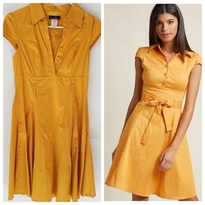 Tropical Wear | Retro 50s Style Yellow Shirt Dress